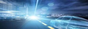 futuristic car going down the road