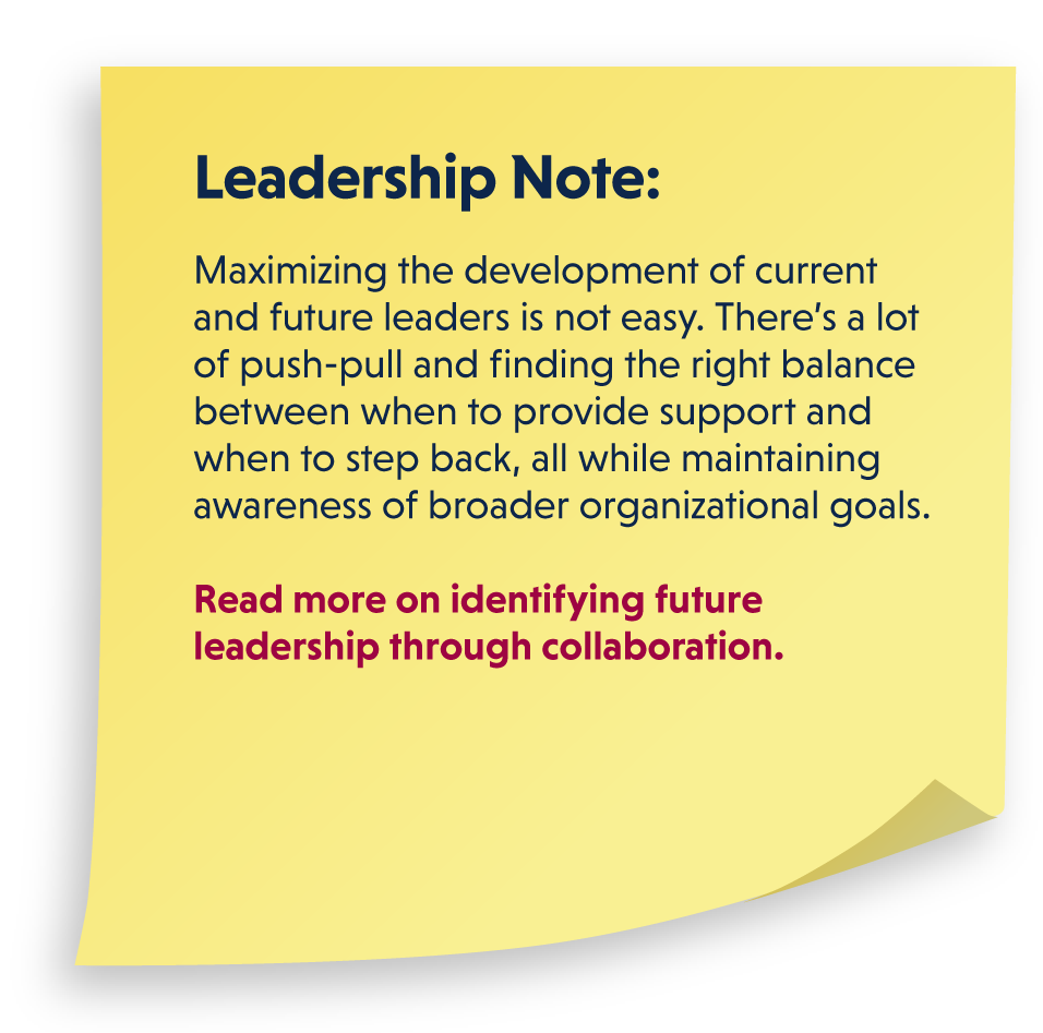 Leadership Note: Maximizing the development of current and future leaders is not easy. There's a lot of push-pull and finding the right balance between when to provide support and when to step back, all while maintaining awareness of broader organizational goals. Read more on identifying future leadership through collaboration.