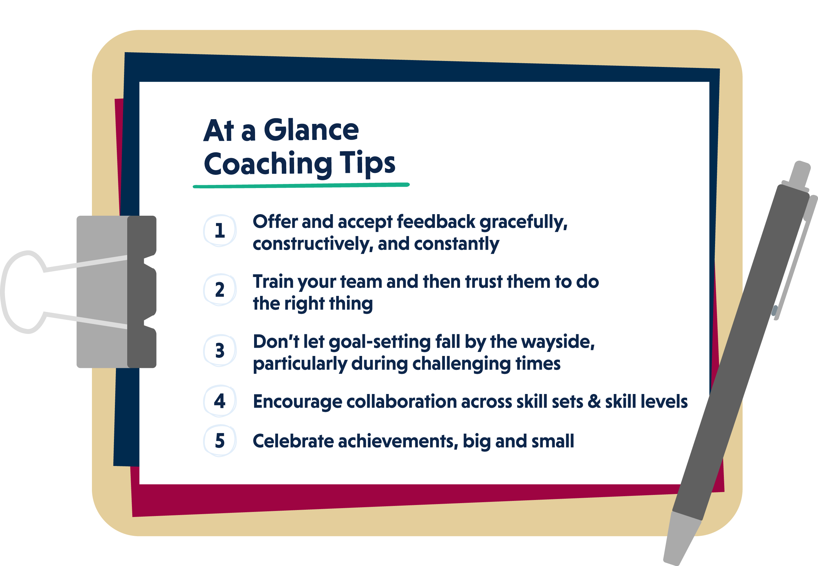 At A Glance Coaching Tips: Offer and accept feedback gracefully, constructively, and constantly. Train your team and then trust them to do the right thing. Don't let goal-setting fall by the wayside, particularly during challenging times. Encourage collaboration across skill sets and skill levels. Celebrate achievements, big and small.