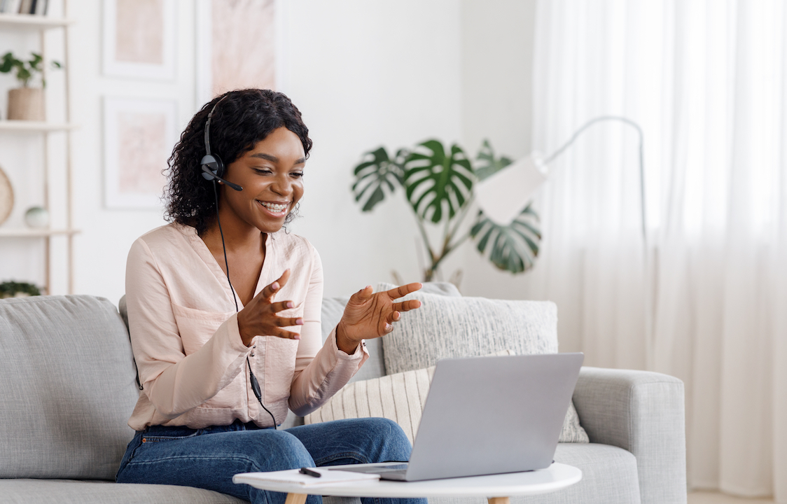 Manager working from home on video call to engage remote workers